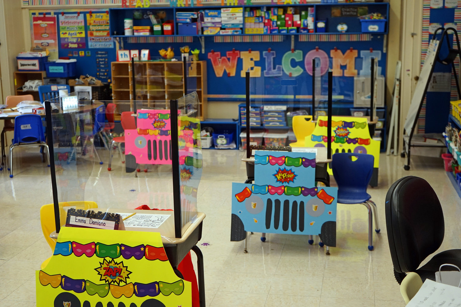 A classroom can get creative when barriers must be placed on the desks.