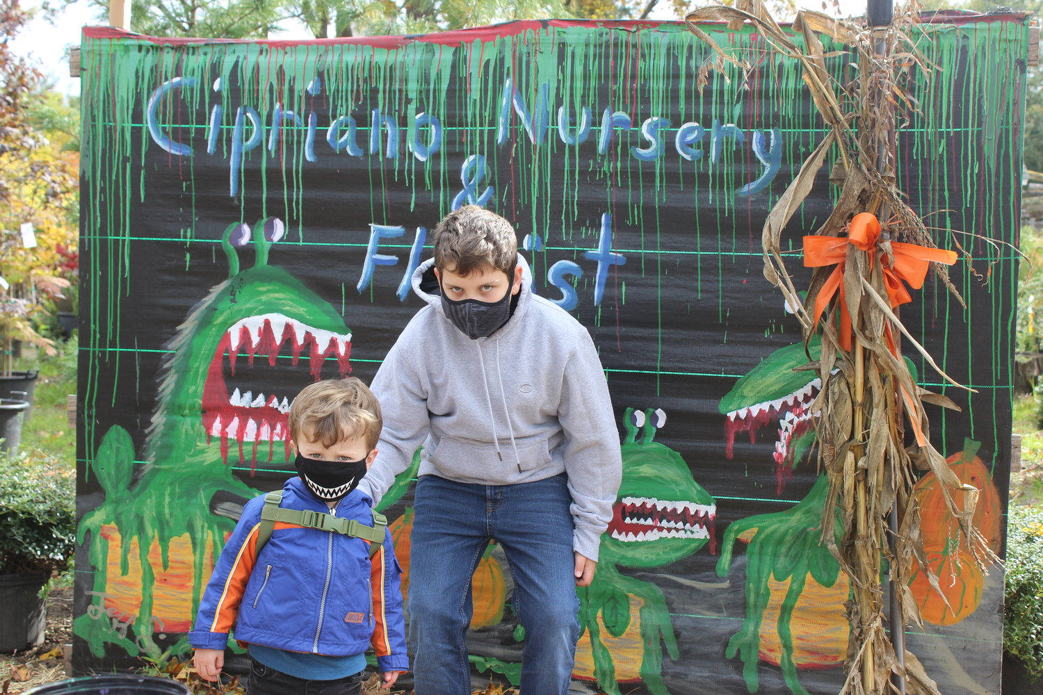 Connor Laico, 2, of East Meadow, fit perfectly in a spooky Halloween backdrop with his monster-smile mask. He was with his cousin Matthew, 10, also of East Meadow.