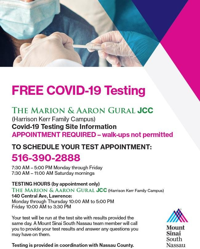 Free Covid-19 testing is now available at the Gural JCC's Harrison Kerr Family Center in Lawrence.