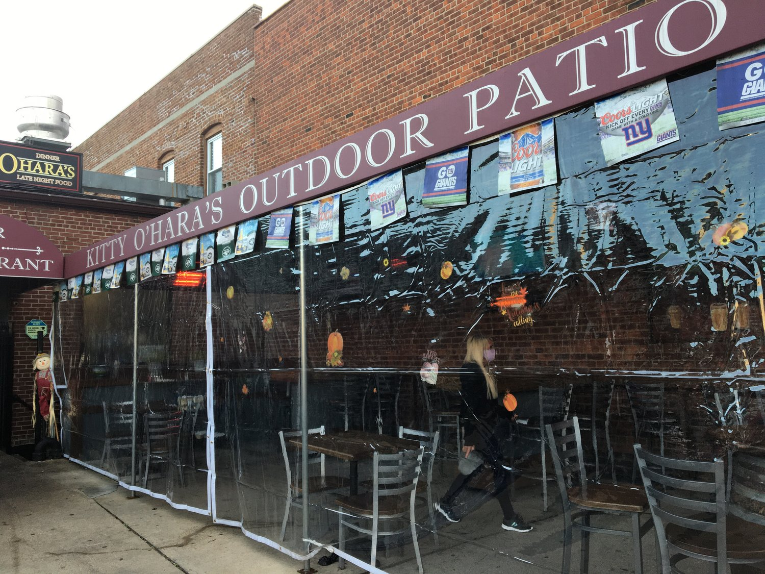 Kitty O'Hara's, on Merrick Road in Baldwin, has hung plastic curtains in the outdoor dining area.