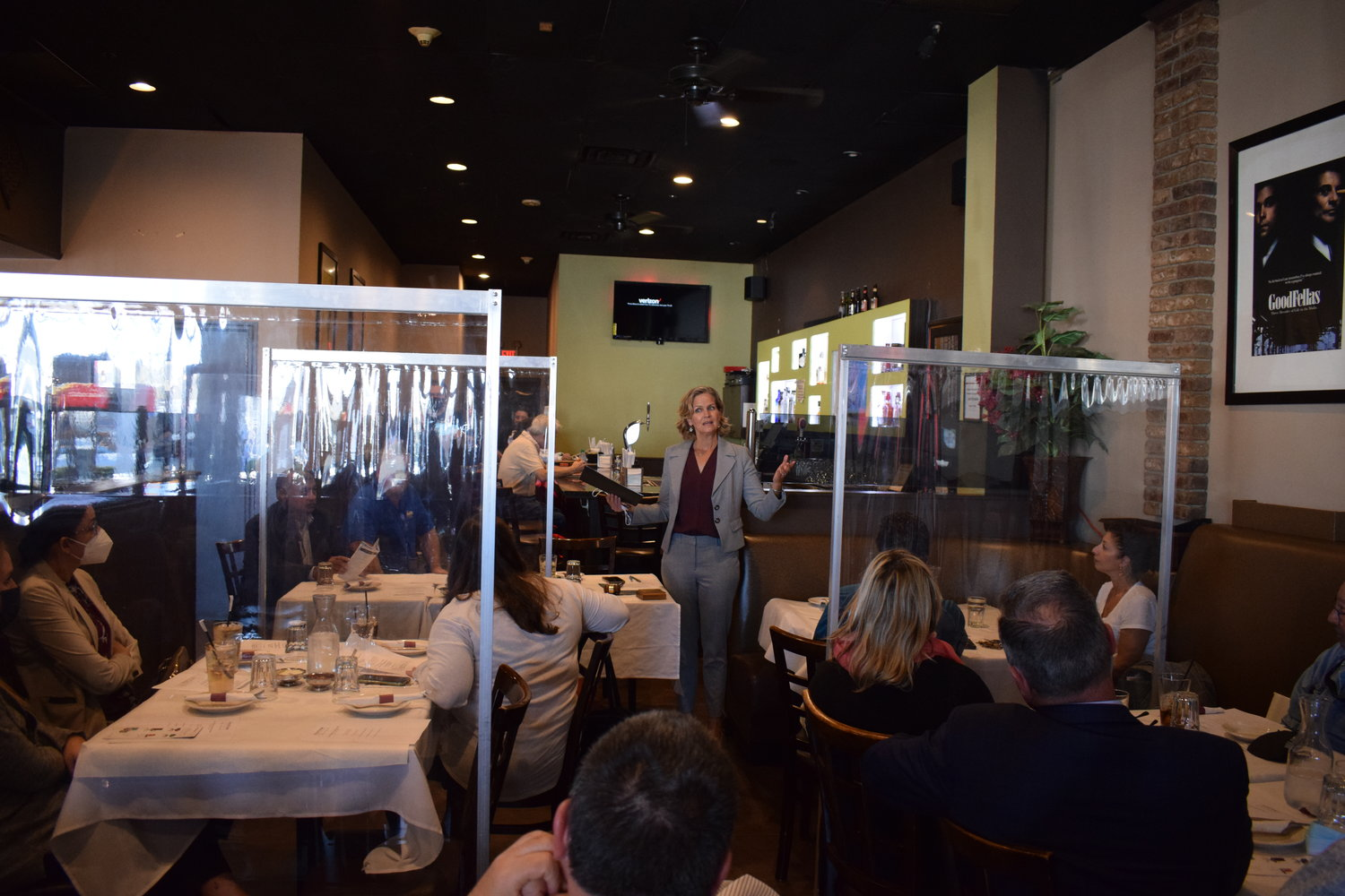Nassau County Executive Laura Curran spoke with local business leaders at the Freeport Chamber of Commerce's luncheon on Tuesday.