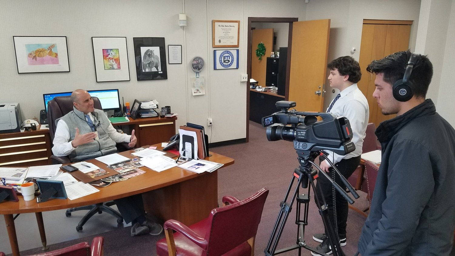 Superintendent John DeTommaso was interviewed by students in the district's Bellmore-Merrick Broadcasting program.