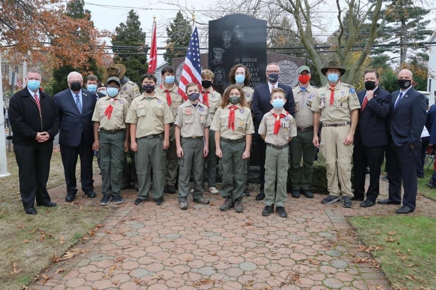 Members of Merrick's Boy Scout Troop 351 were on hand to participate in the observance.