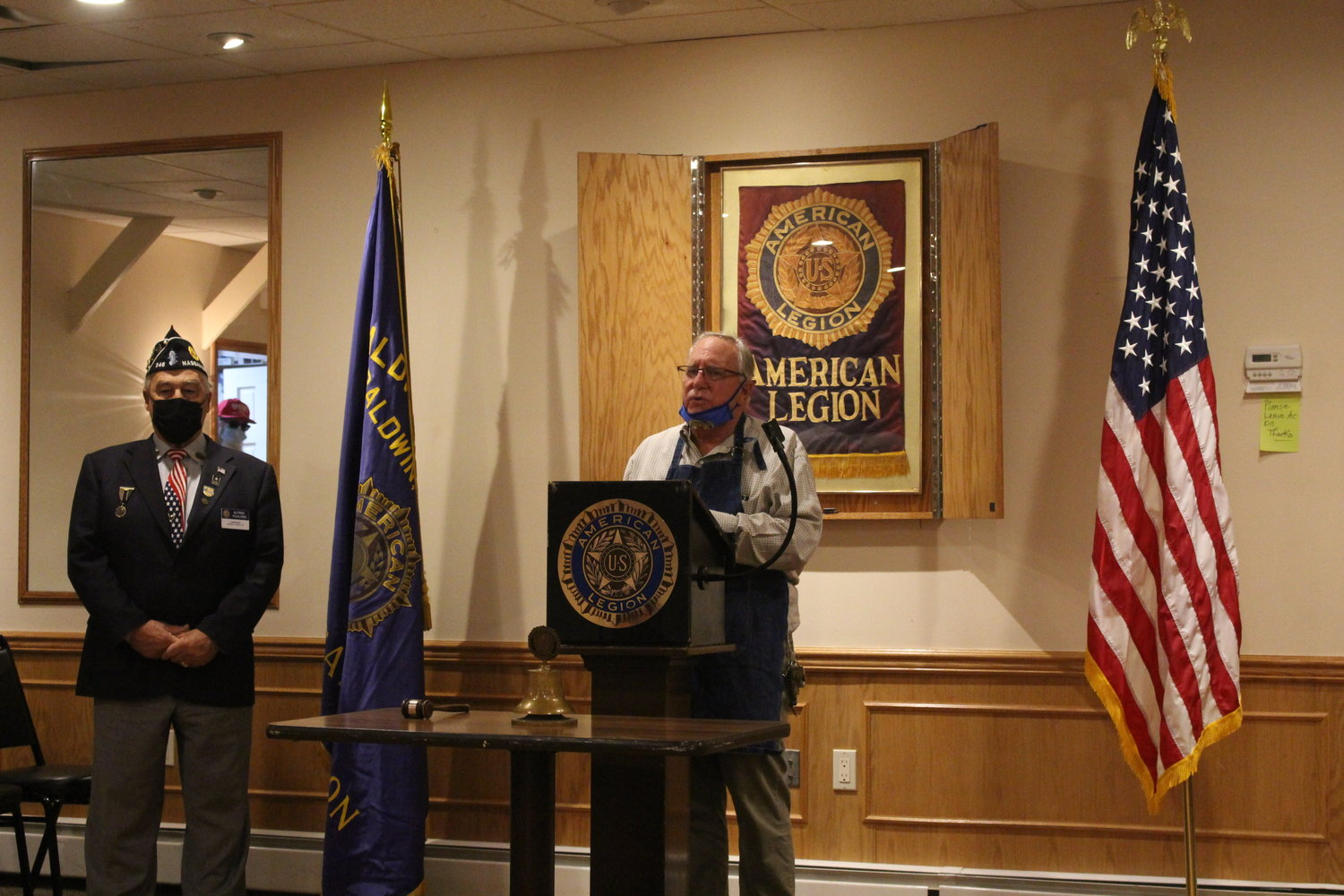 Adj. Jack Wachter, above, spoke at the ceremony, which took place on Nov. 11 at the Baldwin American Legion Post 246.