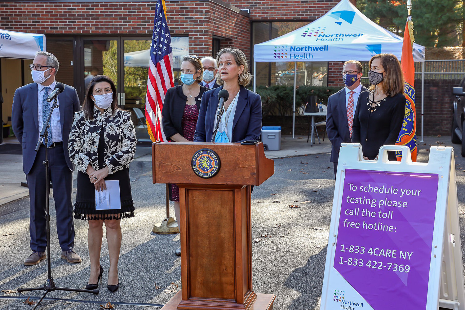 Nassau County Executive Laura Curran held a news conference to address coronavirus upticks in the county the day after Cuomo issued new regulations.