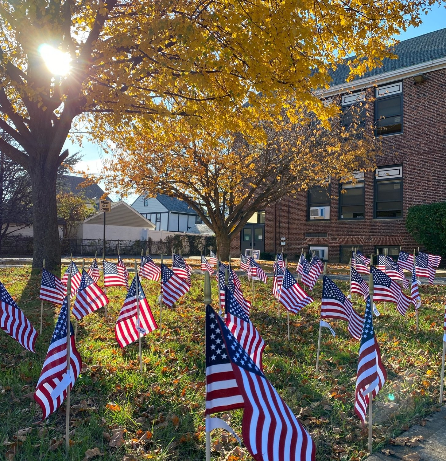 Flags lined the school's lawn as part of the many Veterans Day activities the school district took part in to salute servicemen and women.