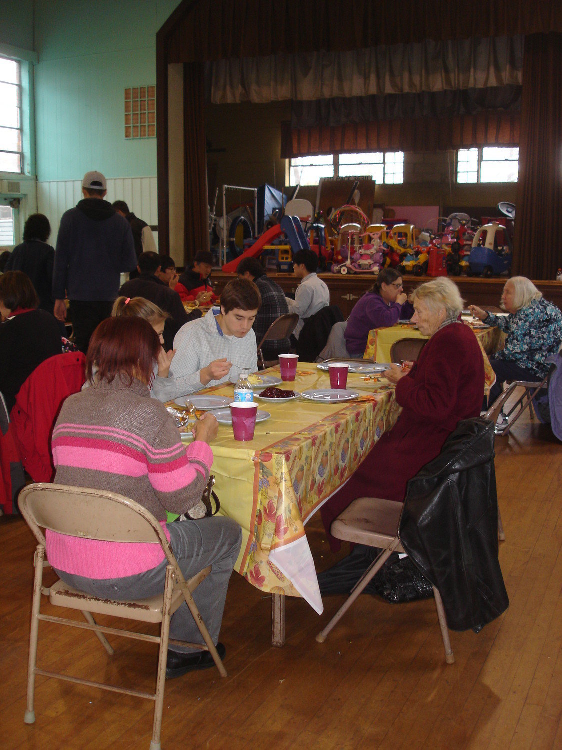 Bethany Congregational Church will not hold its 11th annual Thanksgiving dinner this year because of the coronavirus. Volunteers will, however, deliver meals to those in need. Above, attendees at last year's event.
