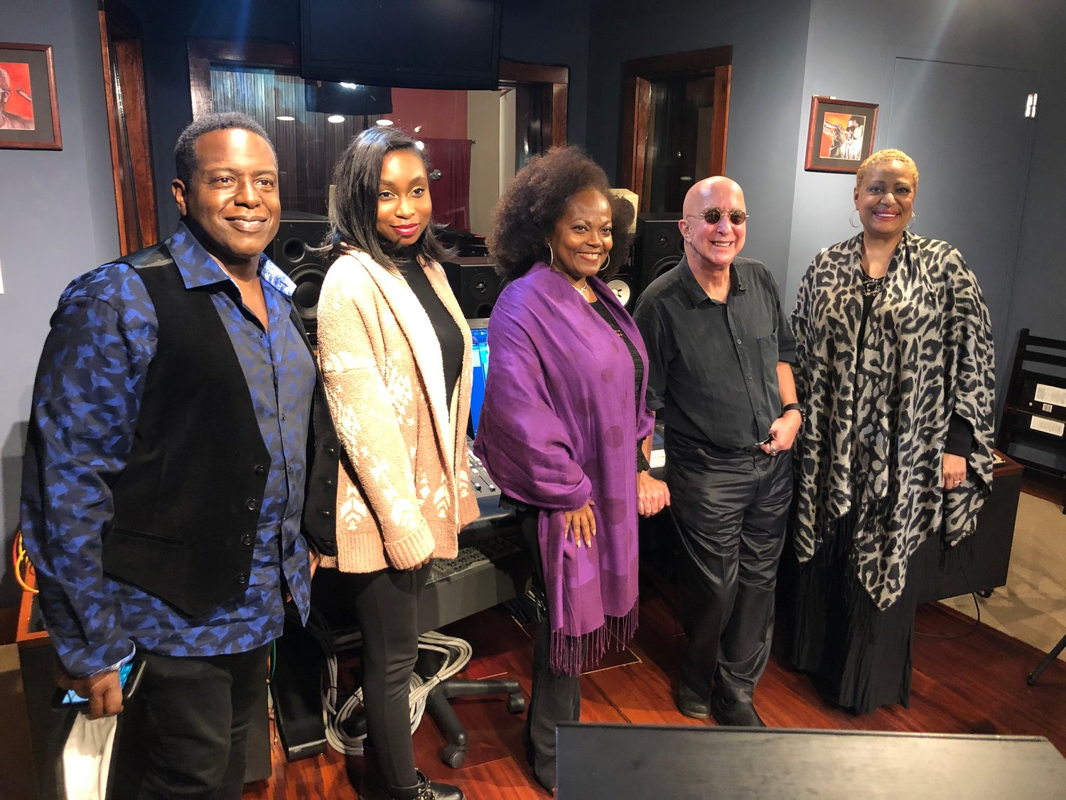 Dennis Collins, Molloy College student Nichelle Lewis, Sharon Jerry-Collins, Paul Shaffer and Vanesse Thomas.