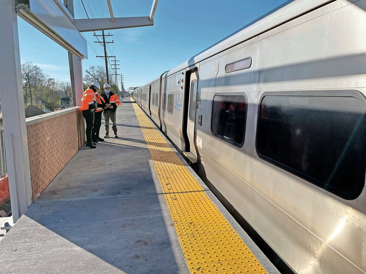 Sections of the south platform of the new Elmont LIRR station have recently been installed.