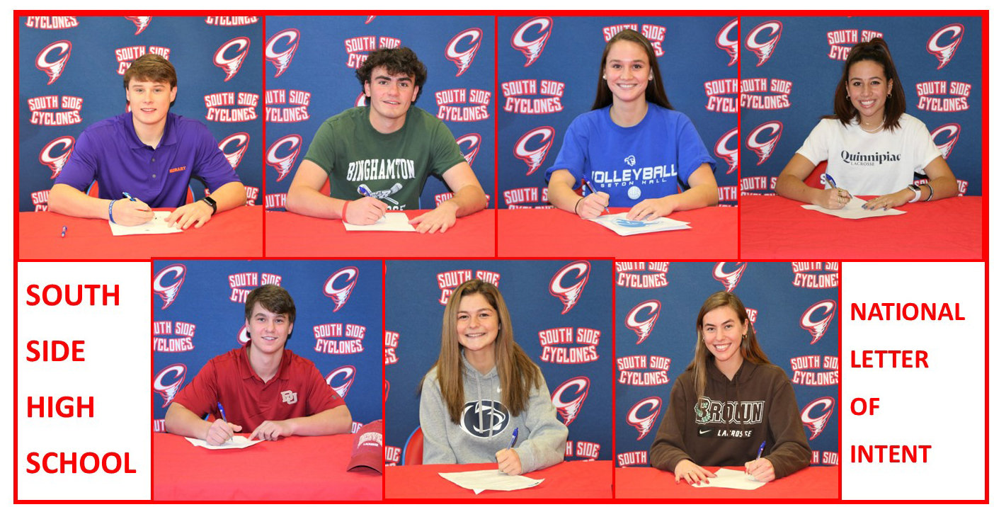 Seven SSHS student-athletes signed their national letters of intent last week. Pictured, from left, top row John Jude Considine, Thomas Kelly, Faith LaMacchia and EllaGrace Delmond, and bottom, from left, TJ Sheehan, Jillian Shimkin and Sydney Rathjen.