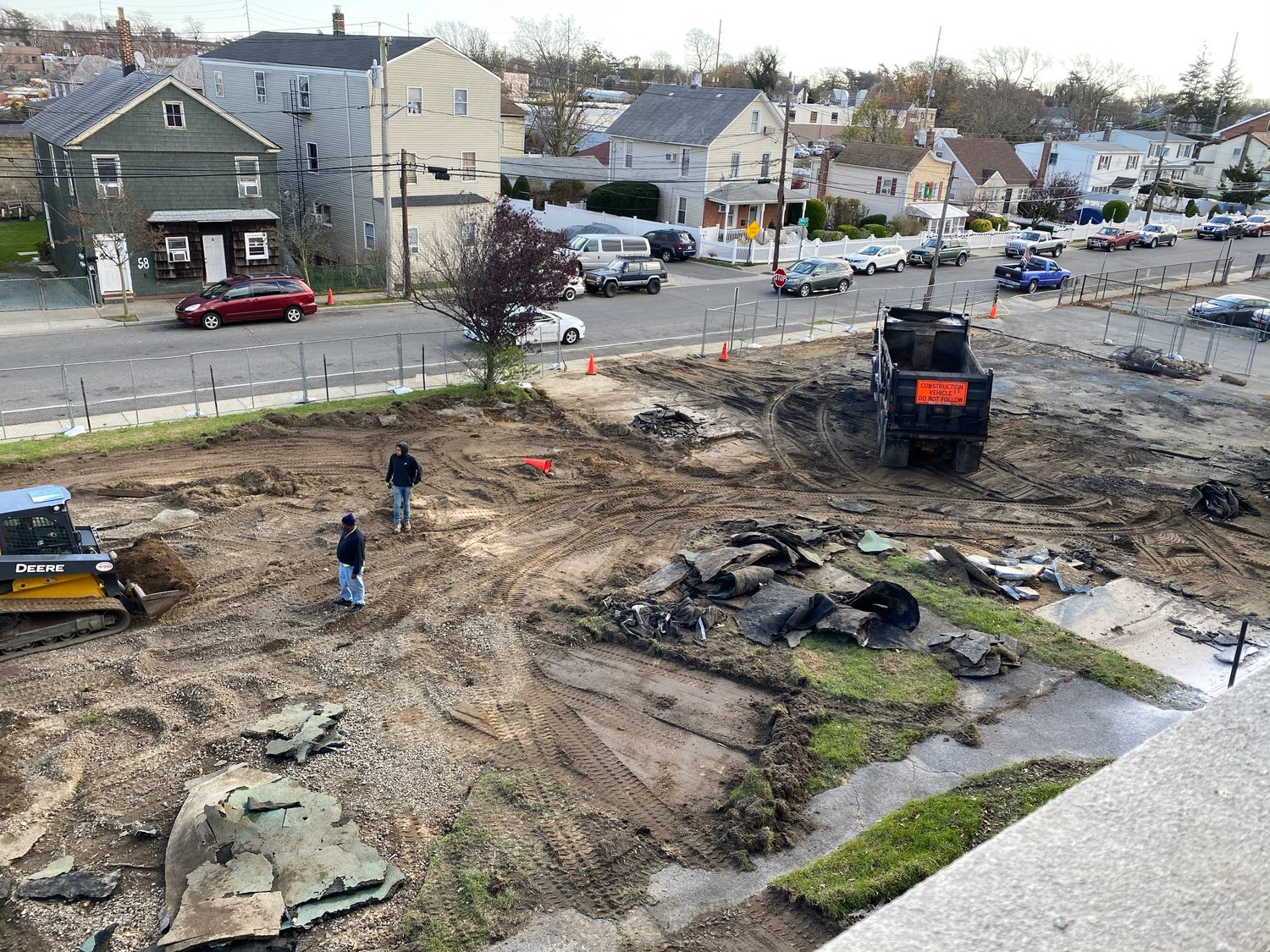 Construction of the parking lot at the Number Four School.