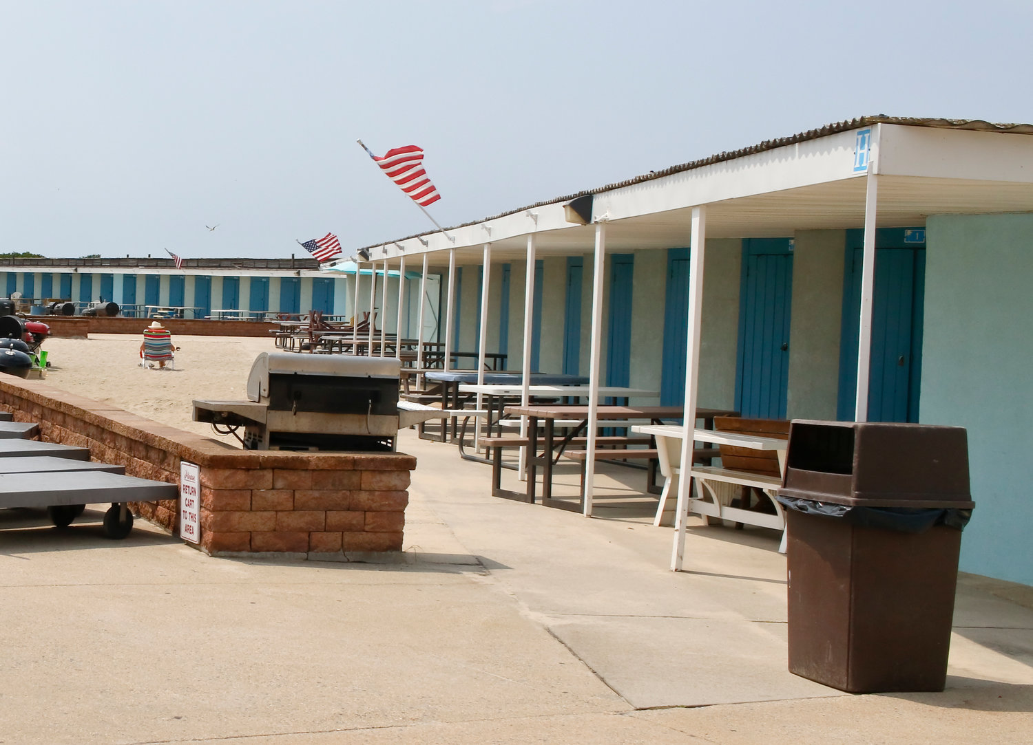 Cabanas are popular at the town's beach park during the summer months.