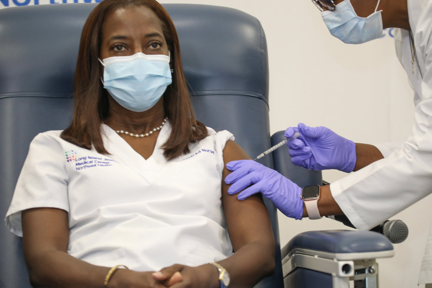 Northwell Health nurse Sandra Lindsay, of Port Washington, became the first person in New York state to receive Pfizer's Covid-19 vaccine on Monday.