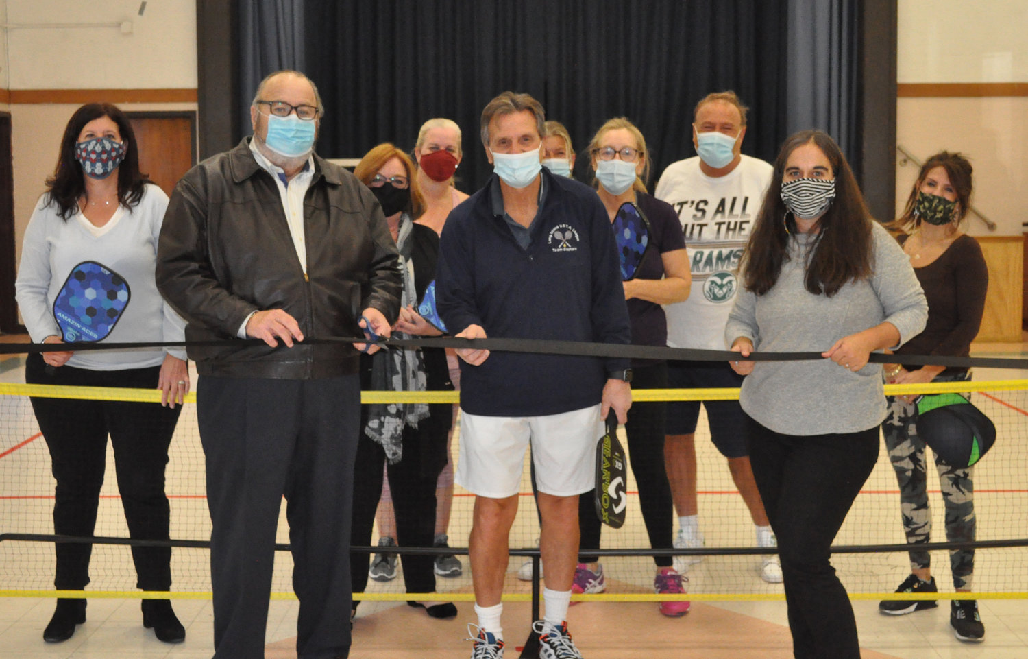 RVC Mayor Francis X. Murray, front left, joined Rec Center Acting Superintendent Karen Polito, right, and pickleball ambassador Frank Milillo for a ribbon cutting last Friday.