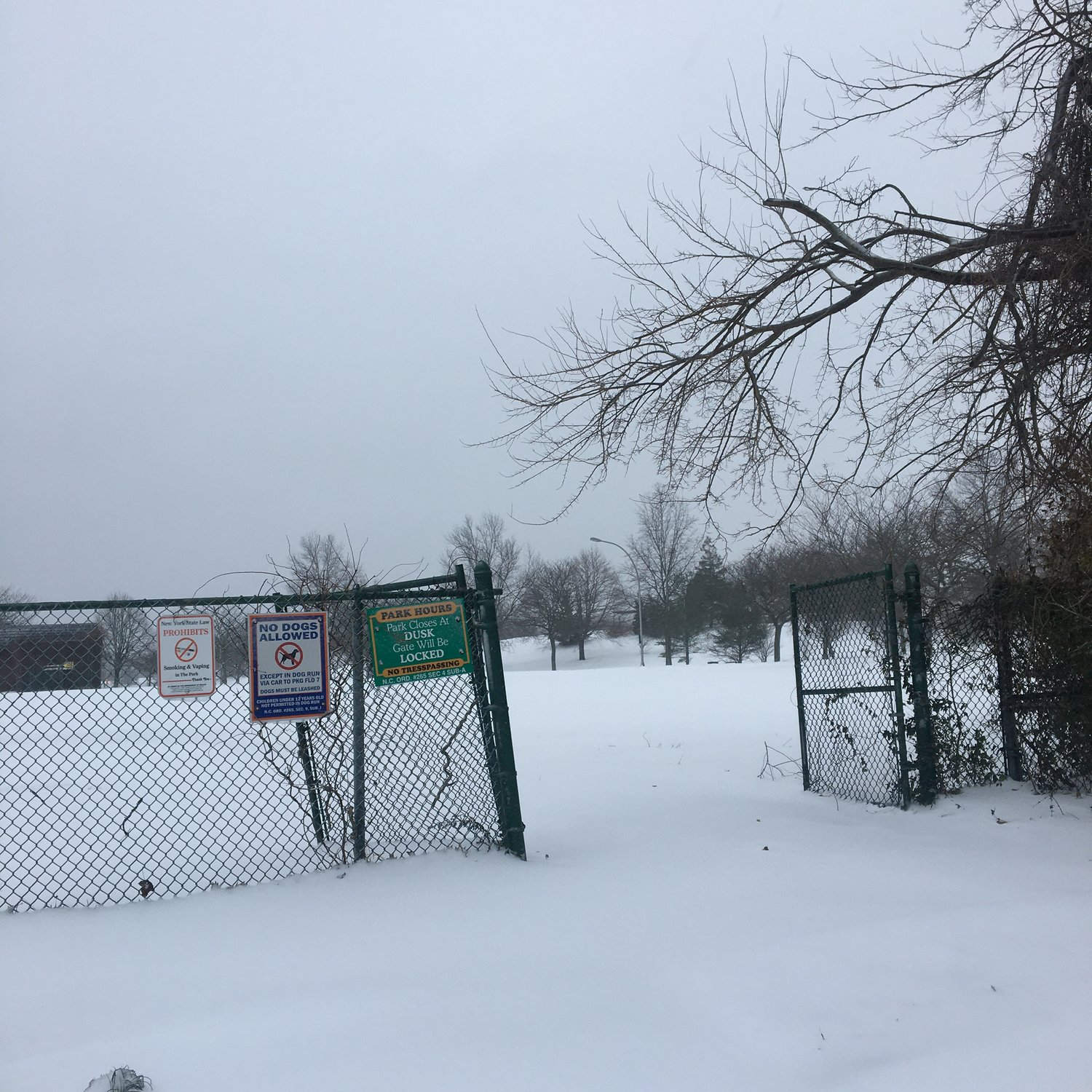 The entrance to Cedar Creek Park in Seaford was covered with a liberal amount of snowfall Thursday morning.