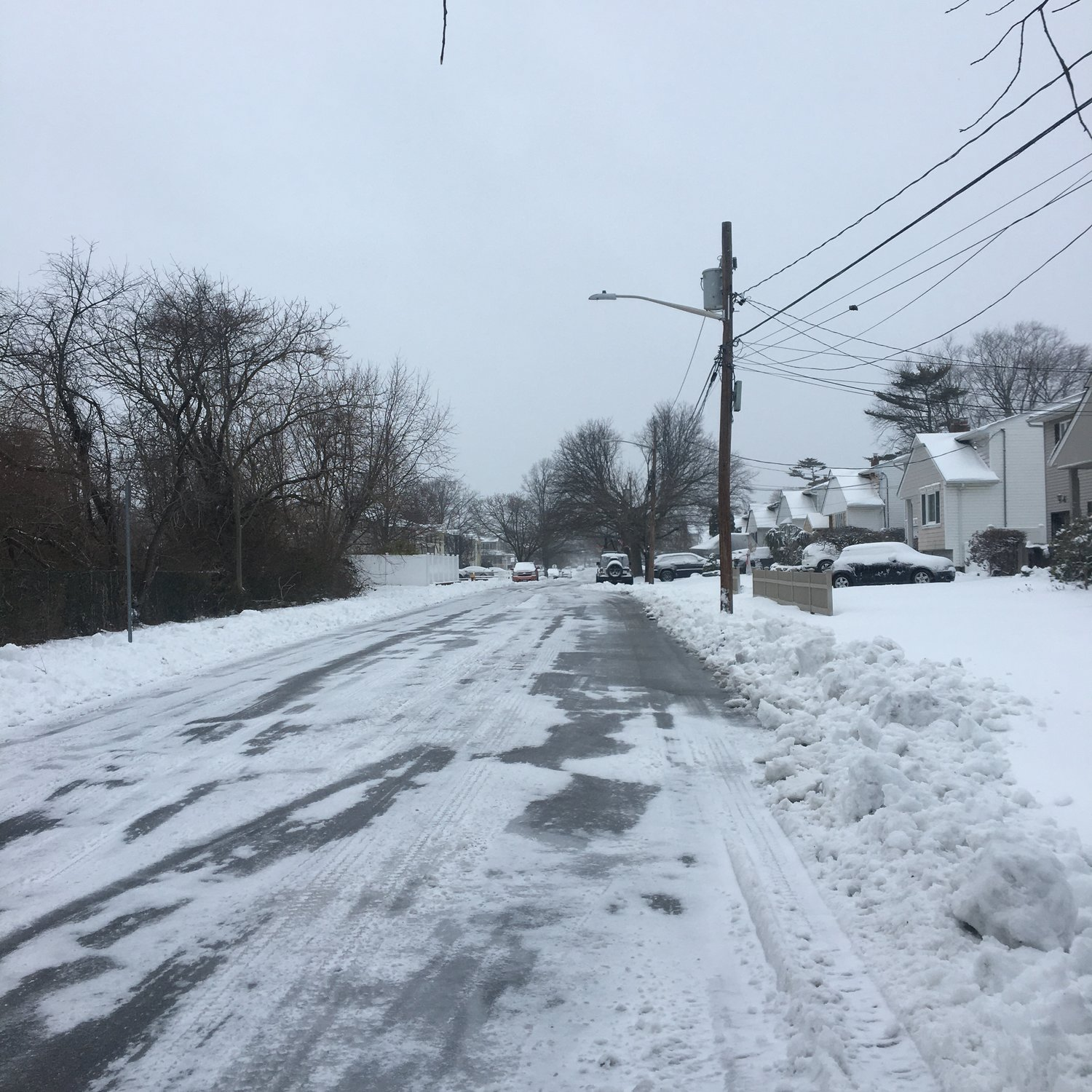 Maple Street in Seaford showed some icy road conditions Thursday morning.