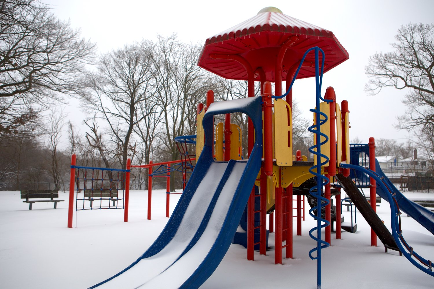 The playground at Forest City Park in Wantagh accumulated a layer of snow covering the equipment.