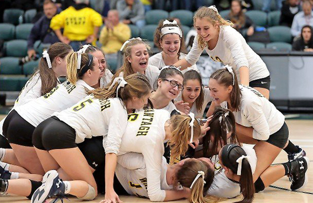 The Wantagh Warriors volleyball squad captured a state championship in 2018.