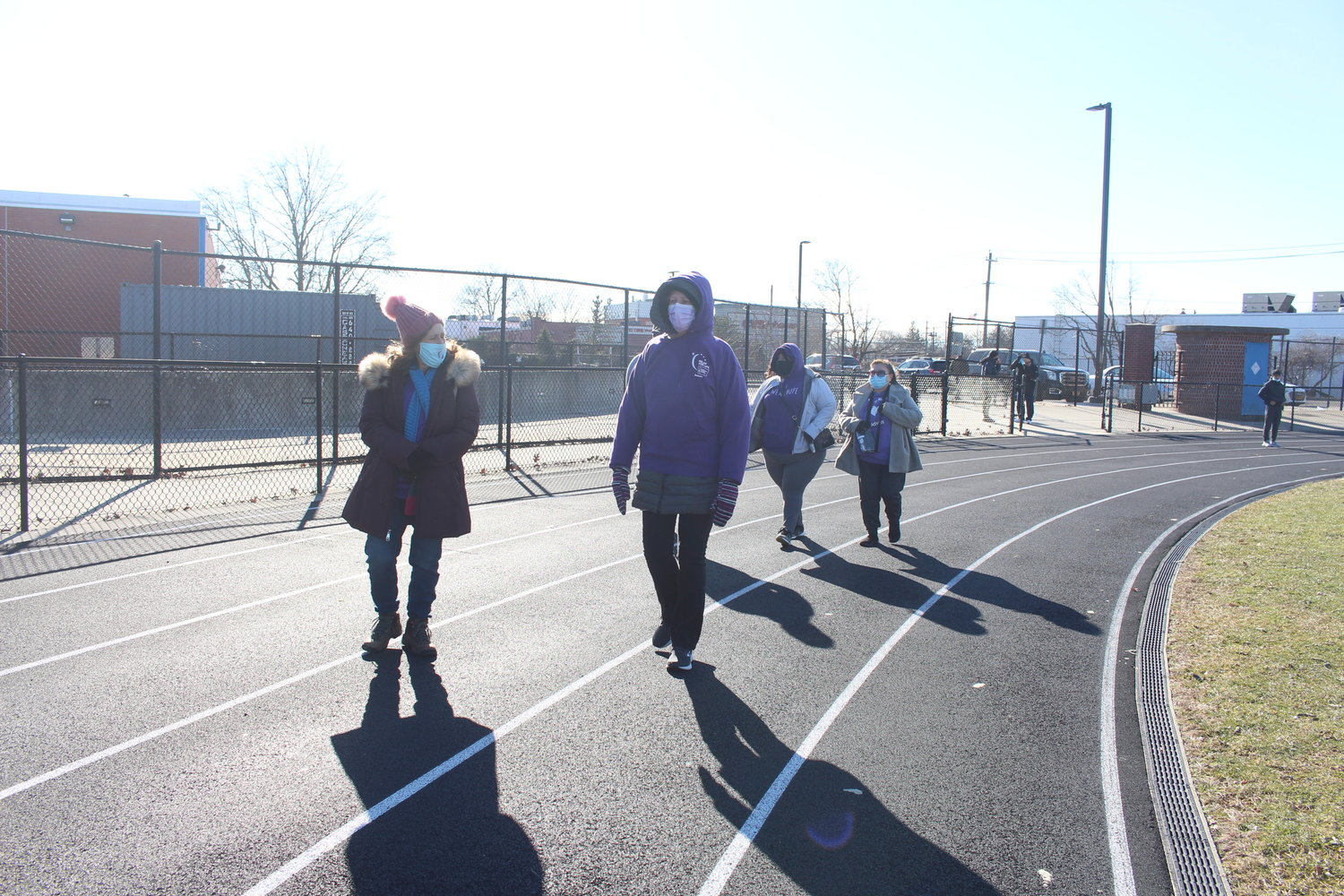 "A group walked laps around the Baldwin High School track on Jan. 9 to take the ""First Lap"" of the American Cancer Society's Relay for Life to support cancer research."