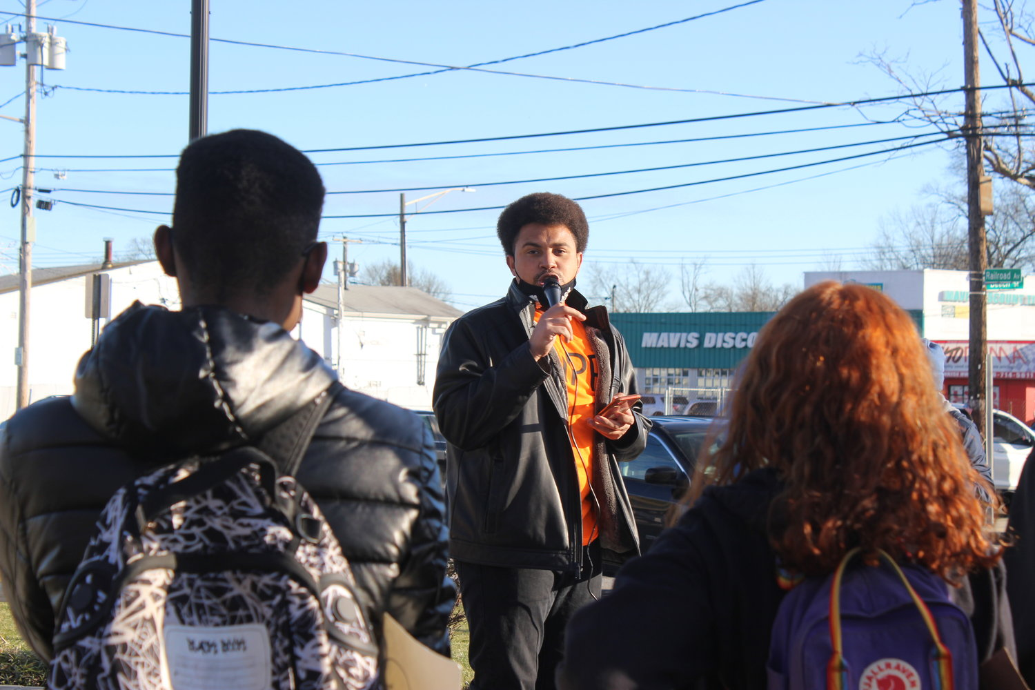 Black Lives Matter protesters gathered at the Wantagh Long Island Rail Road station last Saturday in response to the violence at the U.S. Capitol on Jan. 6. Terrel Tuosto, 28, of West Hempstead, addressed the group before they marched through Wantagh.