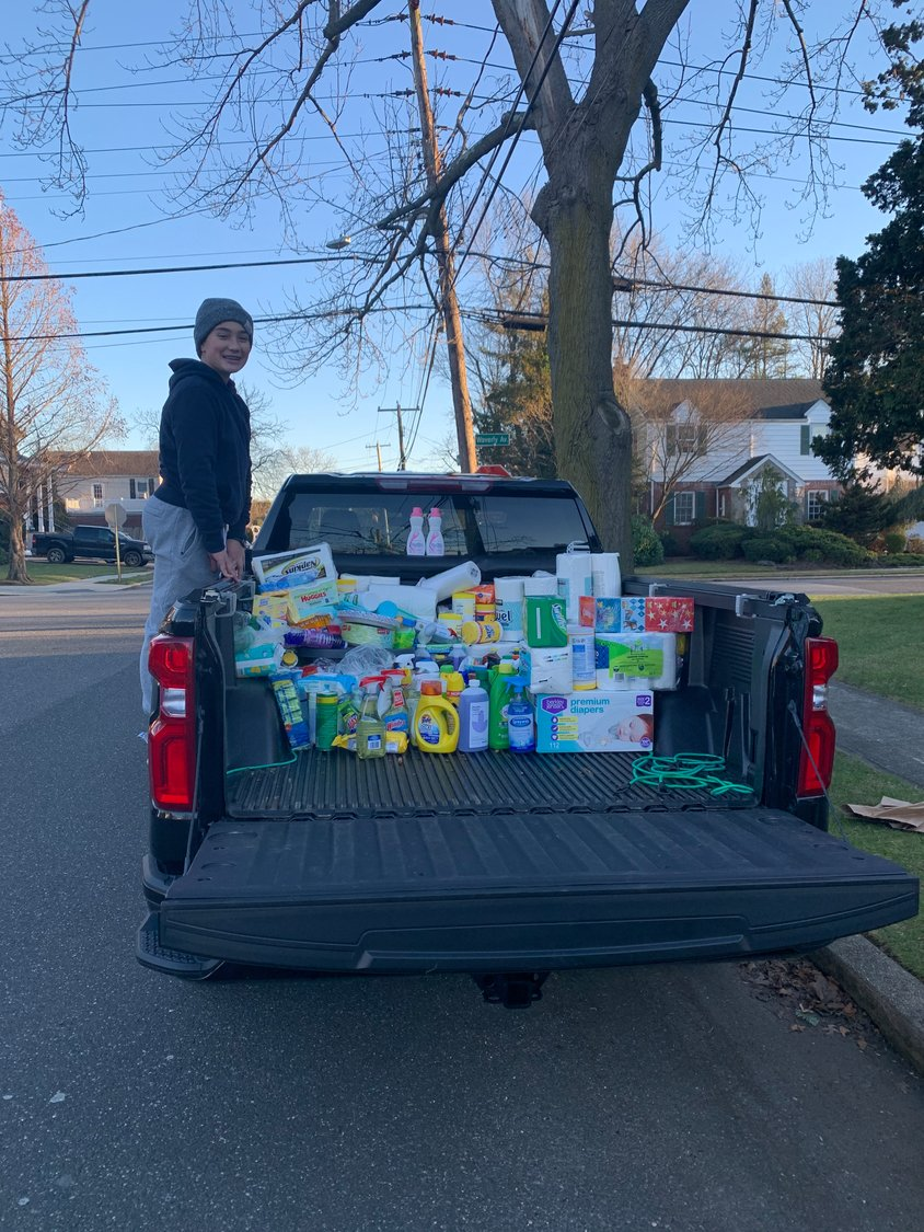 Lynbrook resident Kaden Rogers collected and donated cleaning supplies and household items as part of his mitzvah project.