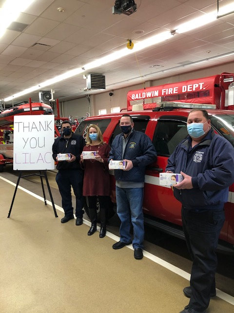 The Baldwin Fire Department, far left, also received donations.