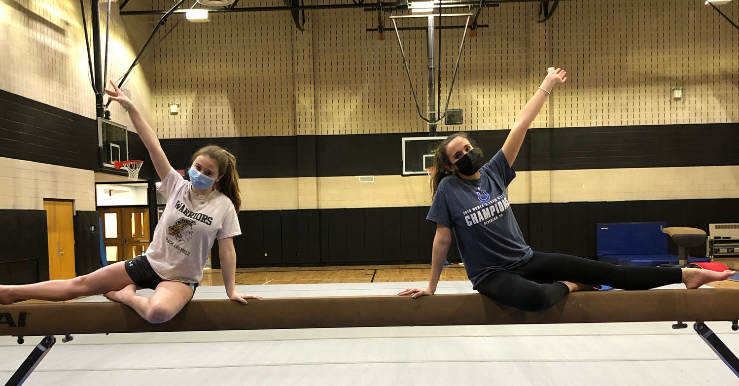 Wantagh gymnasts Kailyn Taggart, left, and Julia Enella.