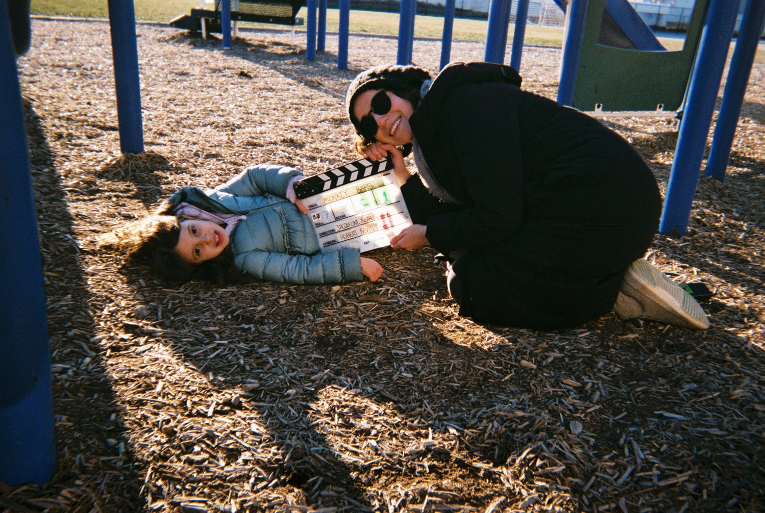 "Oceanside native Jacqueline Xerri wrote and directed the short film ""Monkey Bars,"" which she shot in her hometown. Above, Xerri and young actress Lielle Burk."