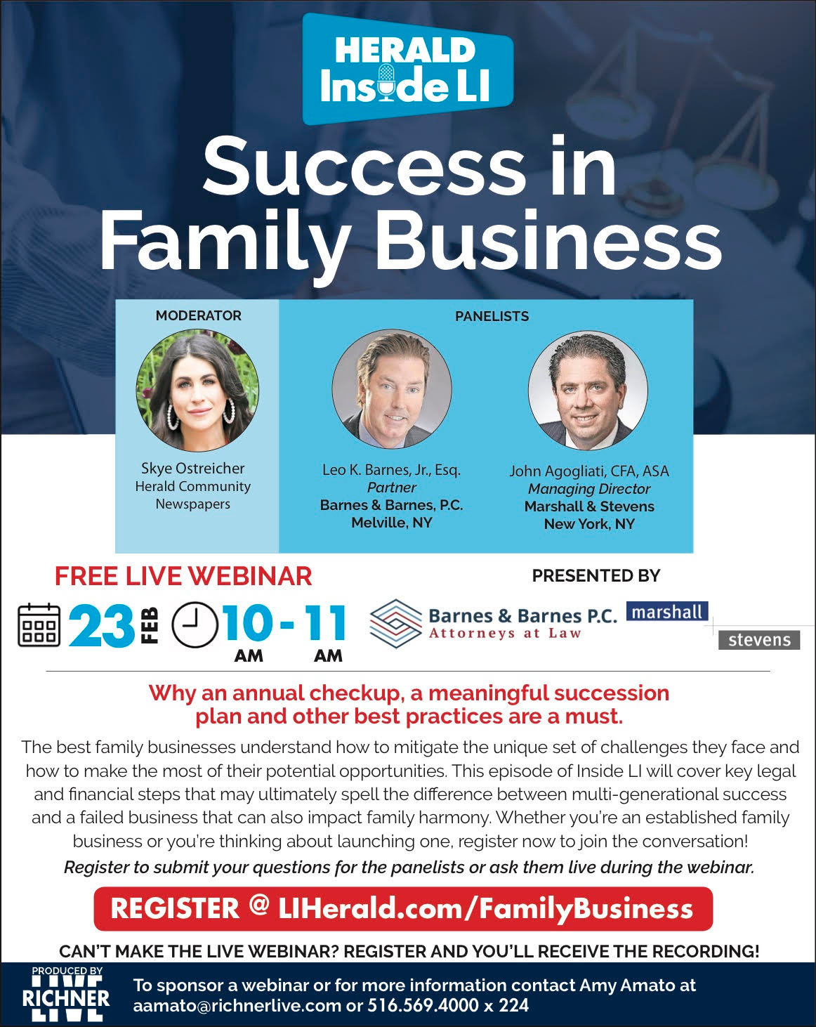 Herald Inside LI will host a webinar on how to find success in family business Feb. 23 at 10 a.m.
