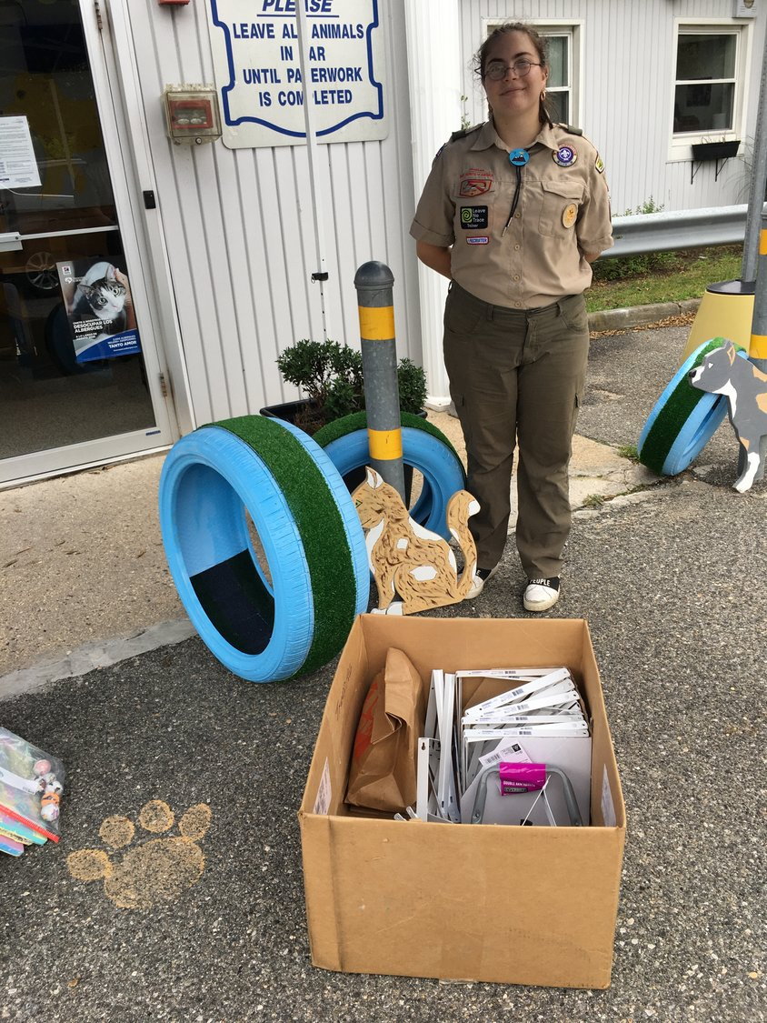 Lea Feiner, of Levittown, is a member of Wantagh's Boy Scout Troop 186 and among one of the nation's first female Eagle Scouts. For her Eagle project, she constructed perches for the cats of the Wantagh Animal Shelter.
