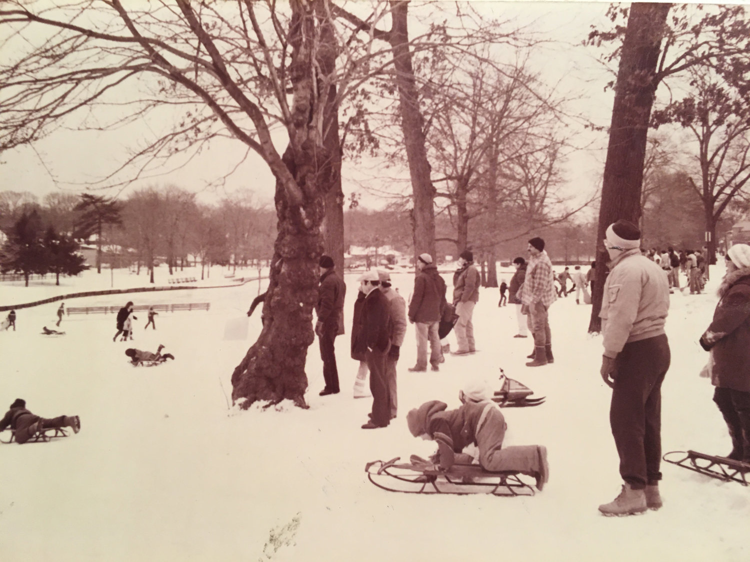 Hall's Pond Park was a popular place to skate during the winter season.