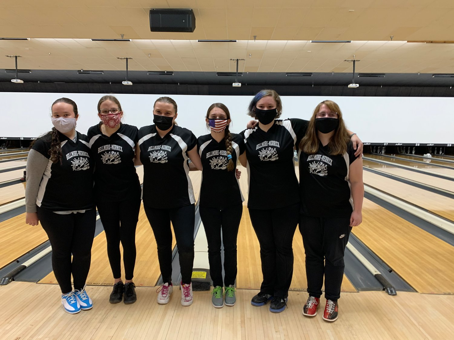 Team members, from left, Beth Delles, Lauren Demarco, Caitlin Snoddy, Marissa Anselmo, Kylie Persampire and Shannon Lisle wore masks and matching t-shirts throughout the recently resumed season.