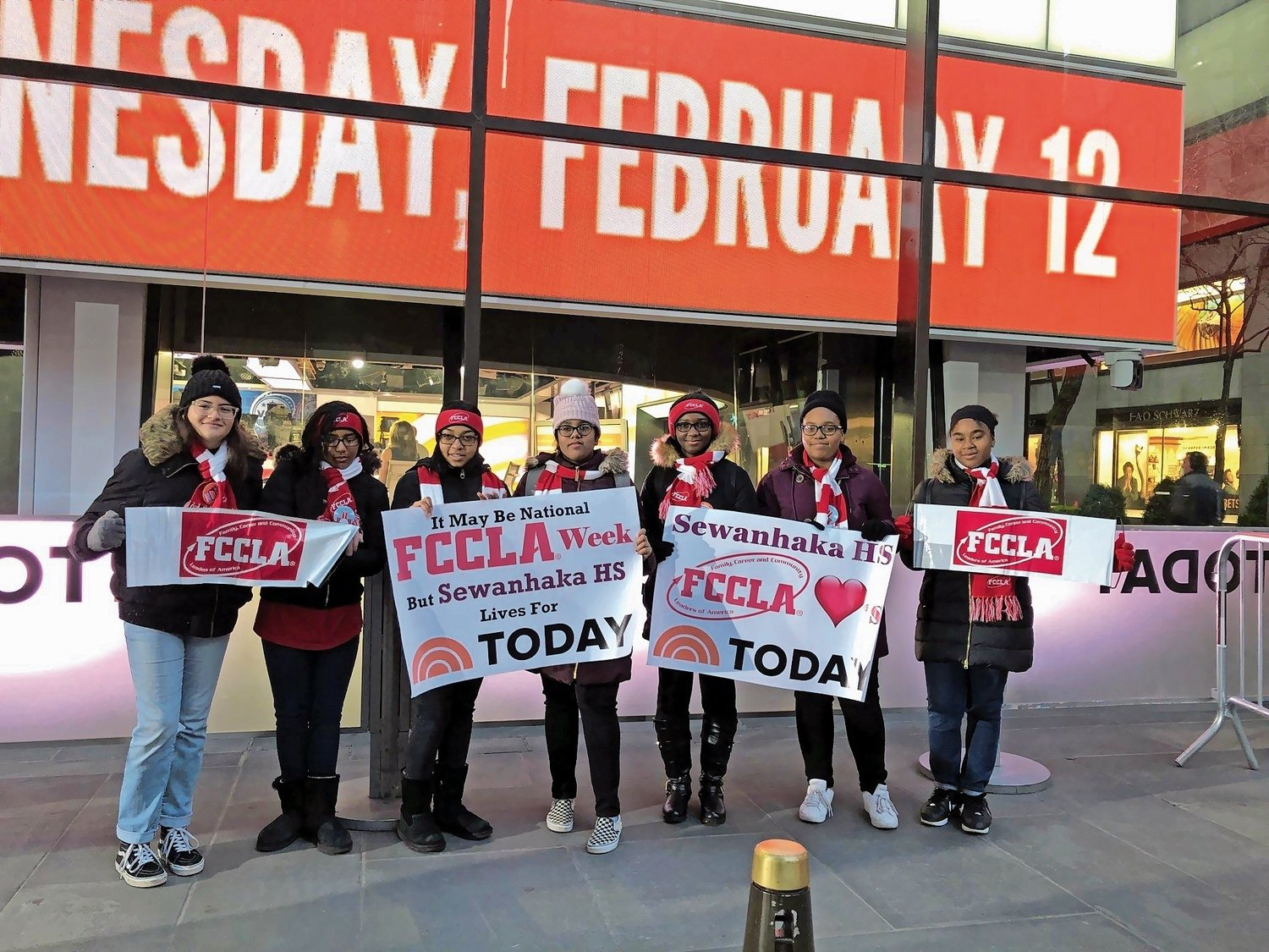 Isabella Galeano, Keziah Joseph, Nia Balgobin, Ashna Balroop, Tyesha Devil, Shania King and Lucila Mathieu stood outside Rockefeller Plaza last year to commemorate FCCLA Week, and the importance of a Family and Consumer Sciences curriculum.