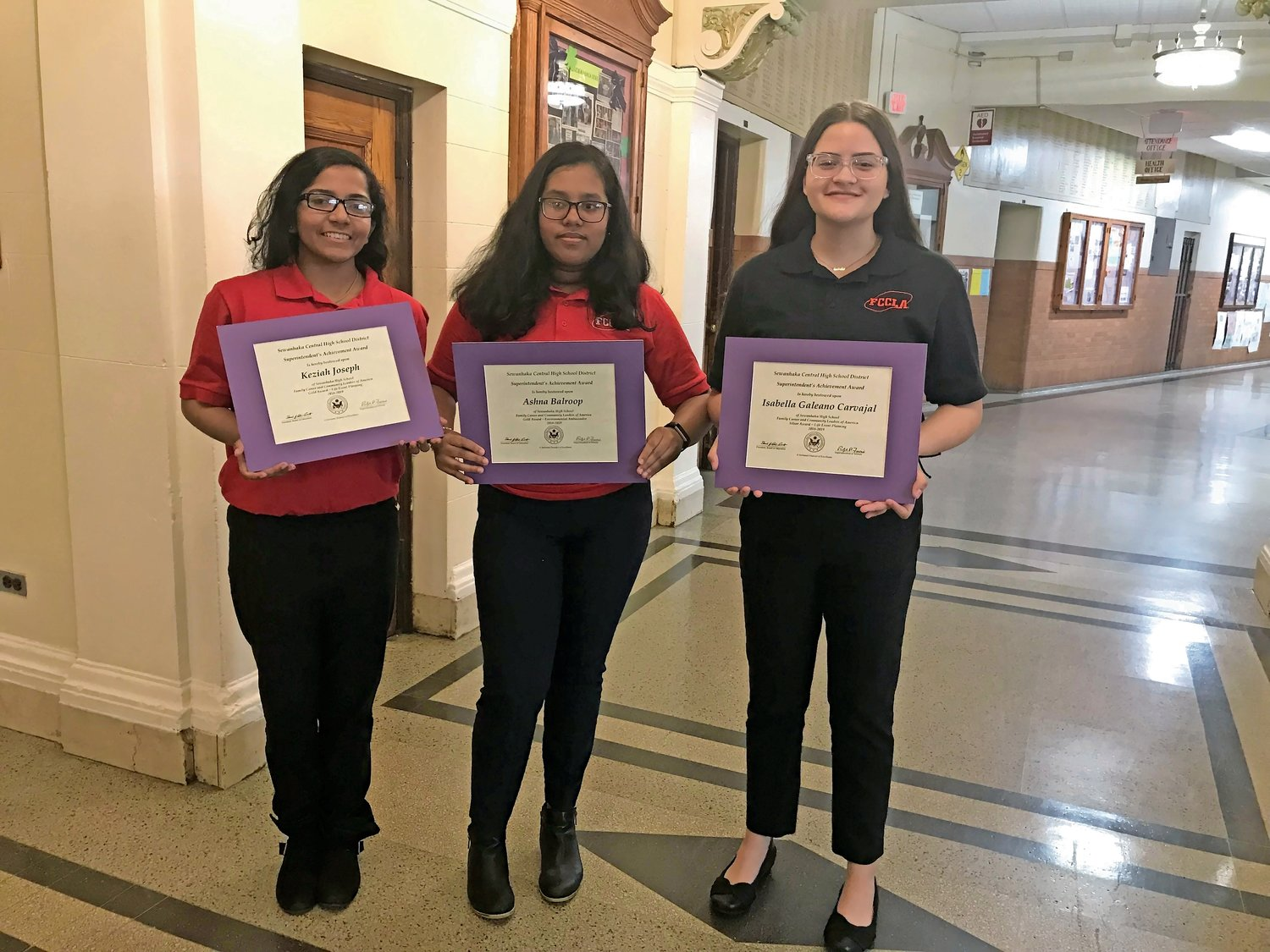 Keziah Joseph, Ashna Balroop and Isabella Galeano earned awards at STAR Events in 2019, above.