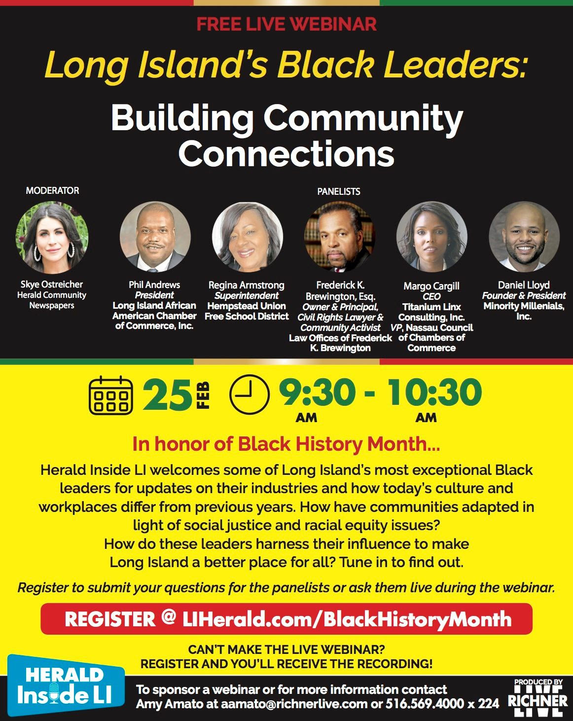 Herald Inside LI will host a webinar featuring Black leaders on Long Island on February, 25 at 9:30 a.m.