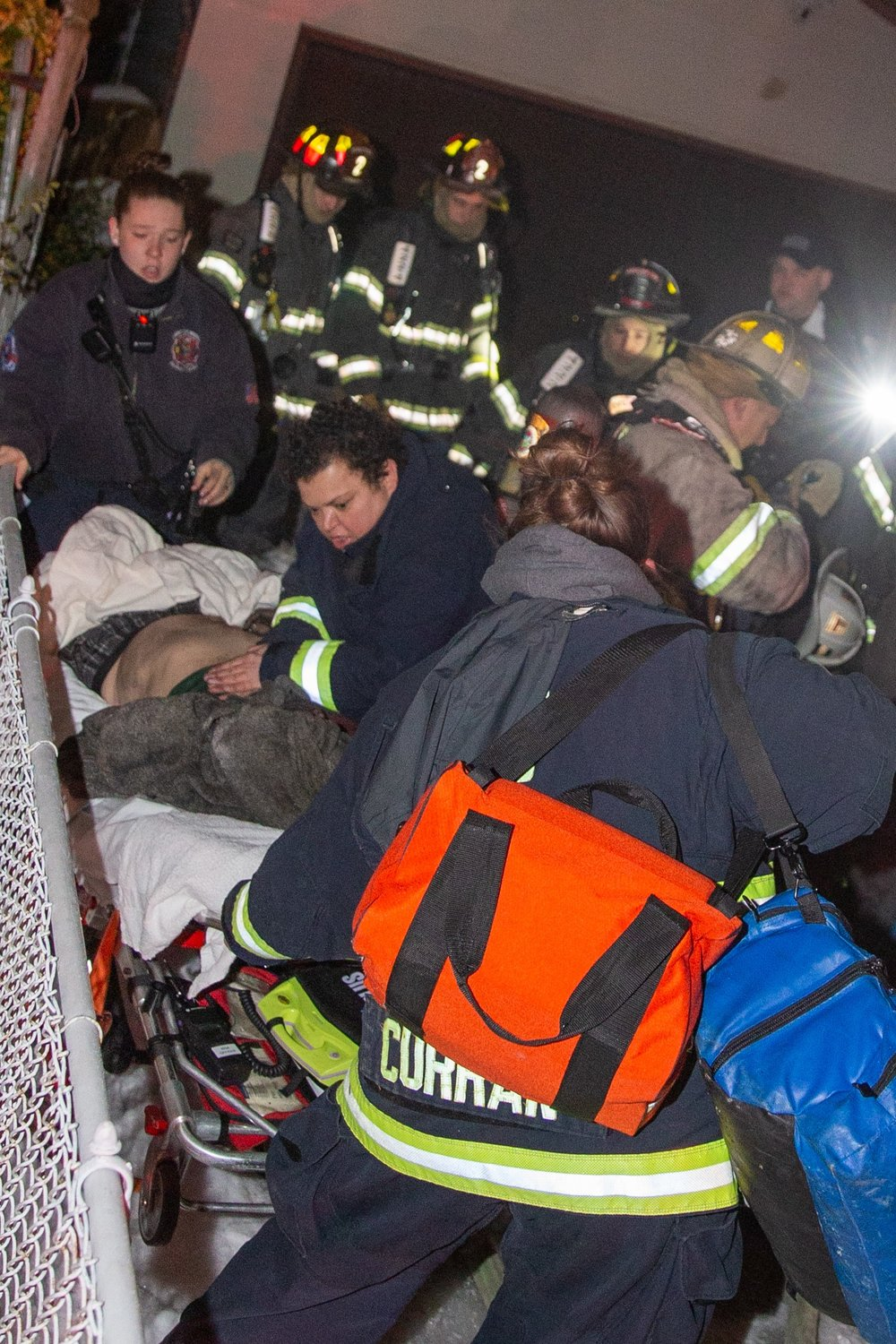 Lynbrook firefighters and EMTs performed CPR on the man after firefighters pulled him from the burning basement.