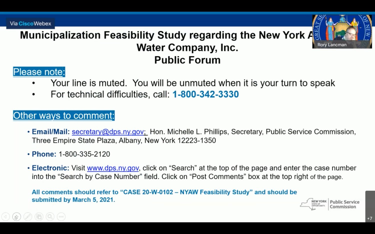 On Thursday, Rory Lancman, special counsel for ratepayer protection at the state Department of Public Service, hosted a virtual hearing at which South Shore residents aired their grievances about New York American Water, the private utility currently under the scrutiny of a state-led feasibility study.