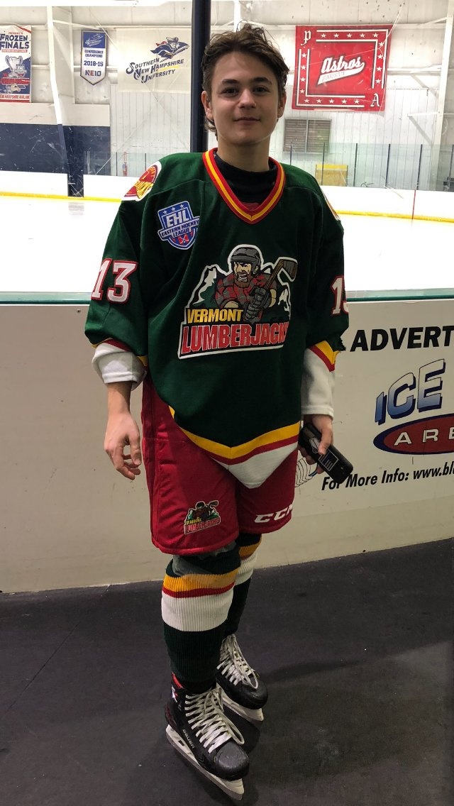 Ryan Friedman of Merrick, 17, is one of the youngest players on the Vermont Lumberjacks, which competes in the Eastern Hockey League.
