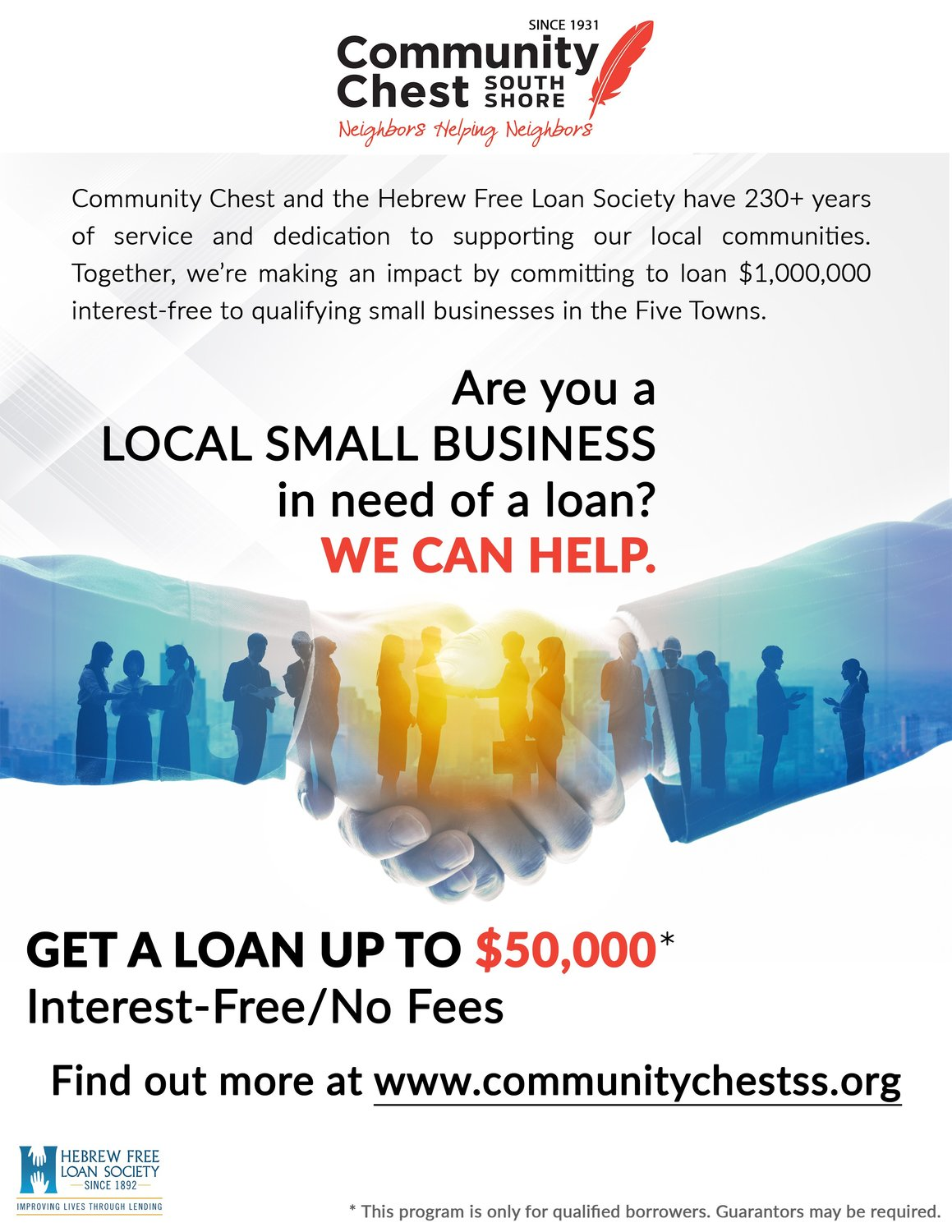 Community Chest South Shore and the Hebrew Free Loan Society have joined forces to offer interest free loans to small businesses in the Five Towns and surrounding communities.