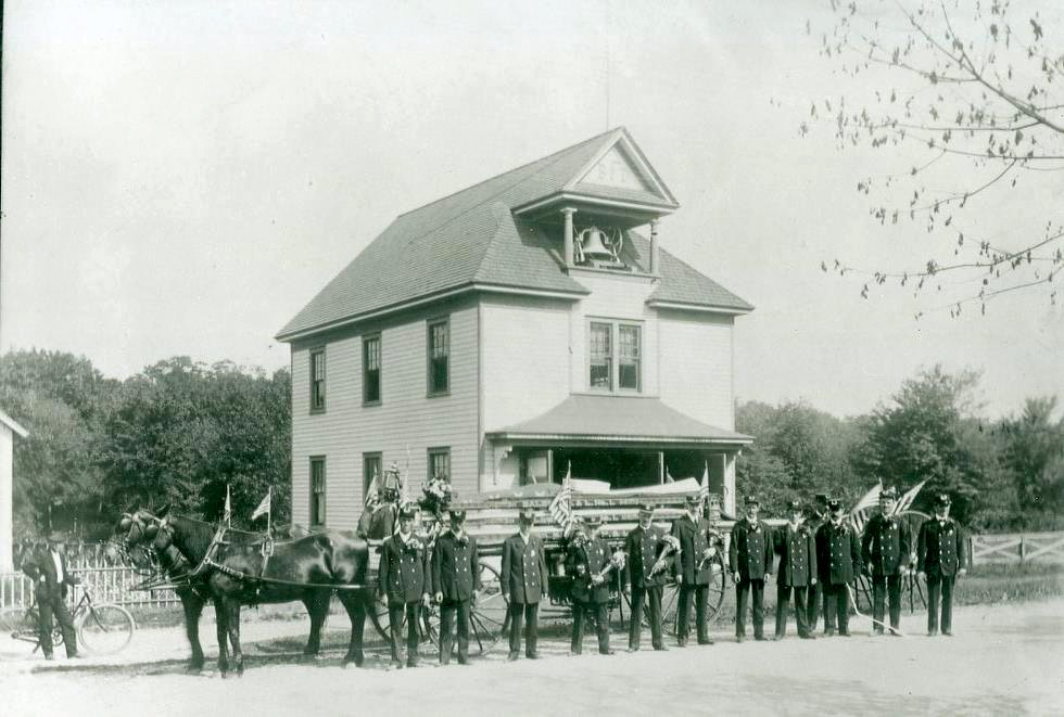 Baldwin Fire Department members pictured in 1906, when their equipment was horse-drawn.