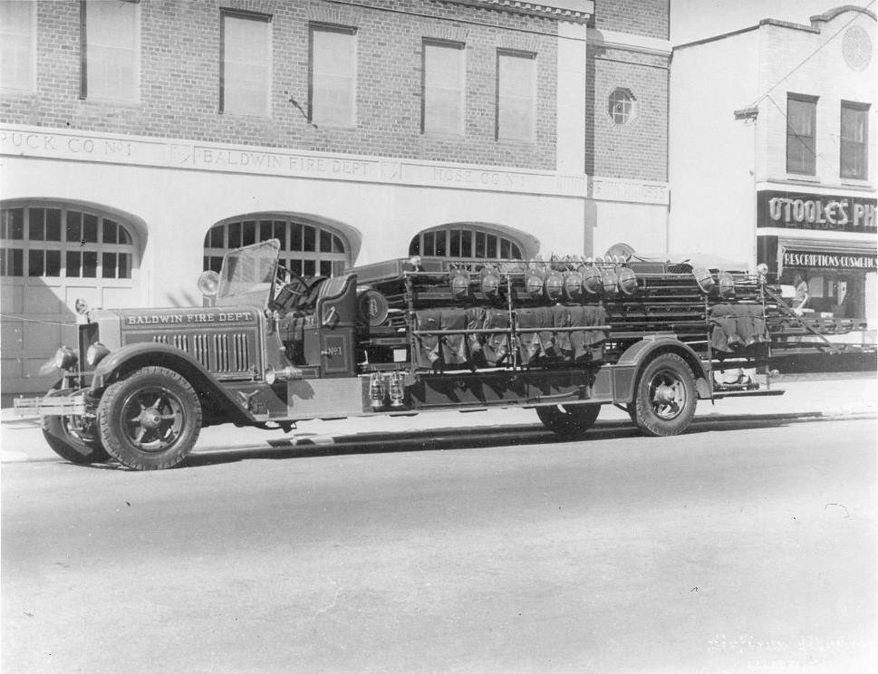 An American LaFrance fire truck in Baldwin in 1930.