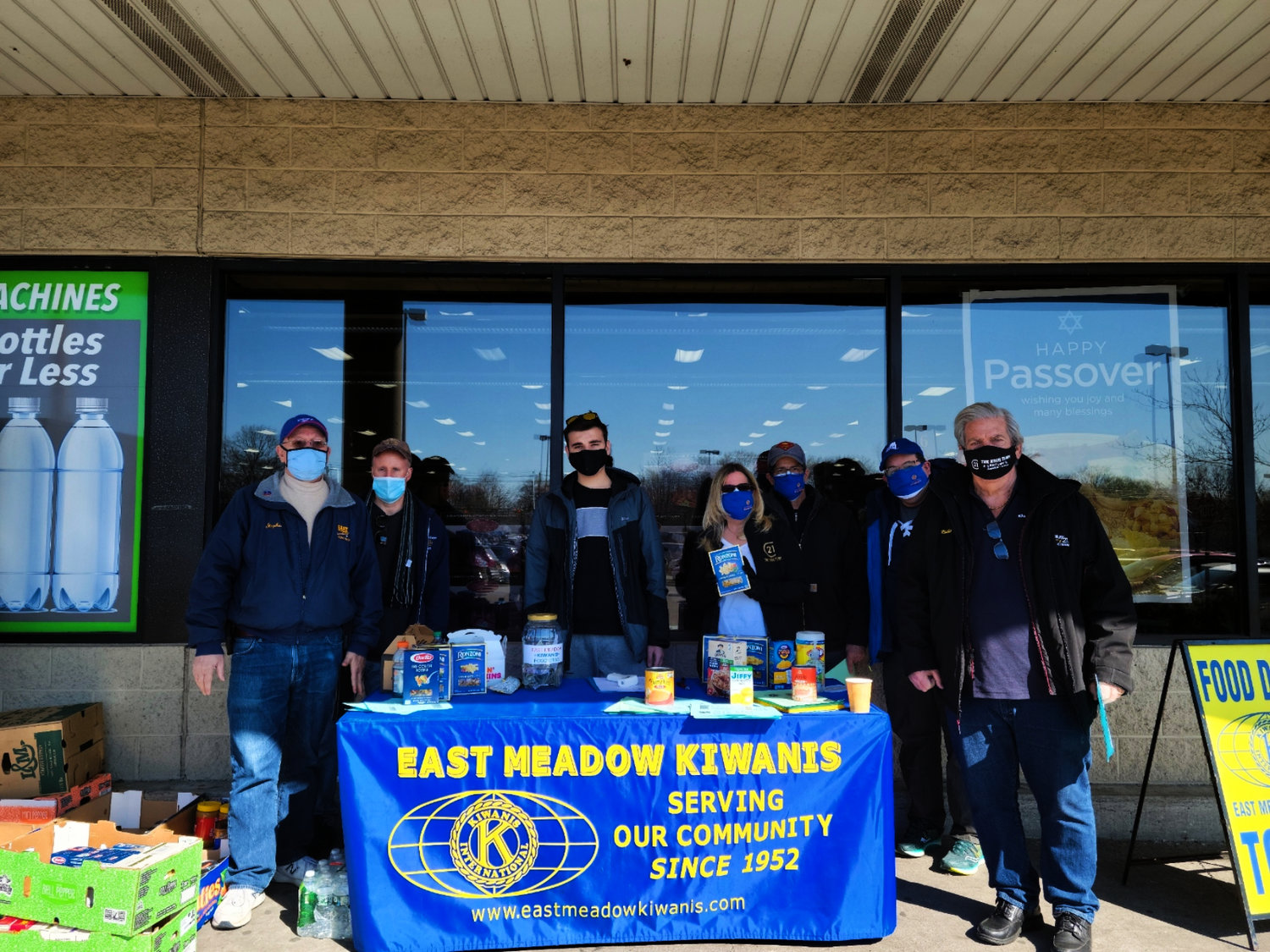 East Meadow Kiwanis gathered outside the Shoprite in Uniondale to collect food for local pantries over the weekend.