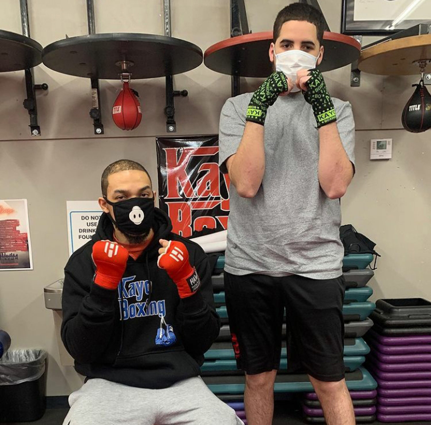 A viral video of Lorenzo Thomas, left, has inspired others to train at Kayo Boxing, including Donovan Maldonado, who joined the gym last month.