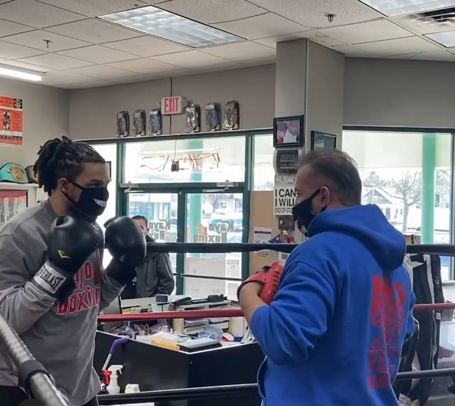 Kayo Boxing owner Michael Corleone, right, has helped Lorenzo Thomas recover from his brain injury through boxing since 2019.