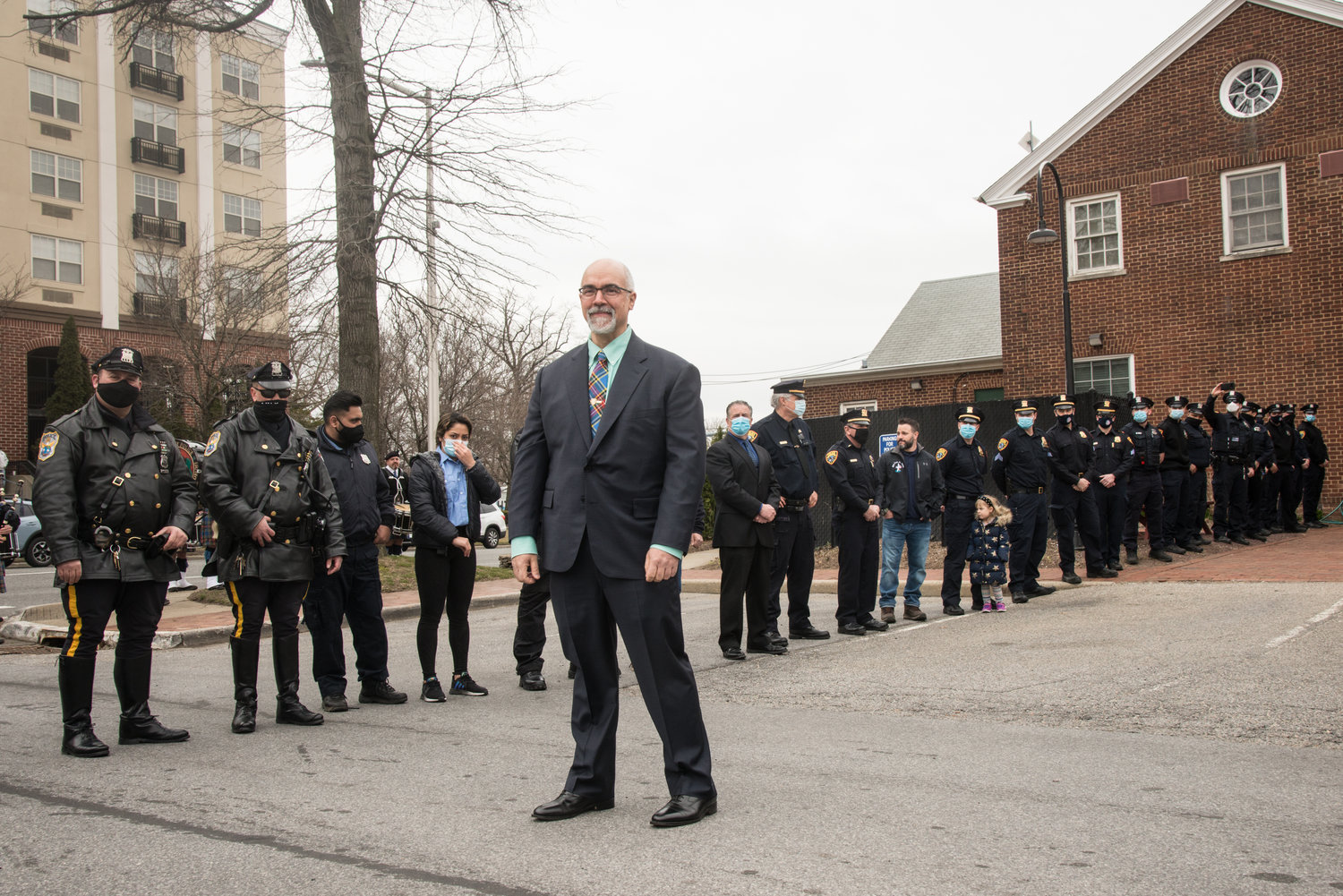 Detective Chris Albin retired on March 17, after 27 years with the Glen Cove Police Department. Members of the Nassau County, Suffolk County and MTA Police Department Emerald Society Pipe Bands played at the walkout ceremony as he left police headquarters.