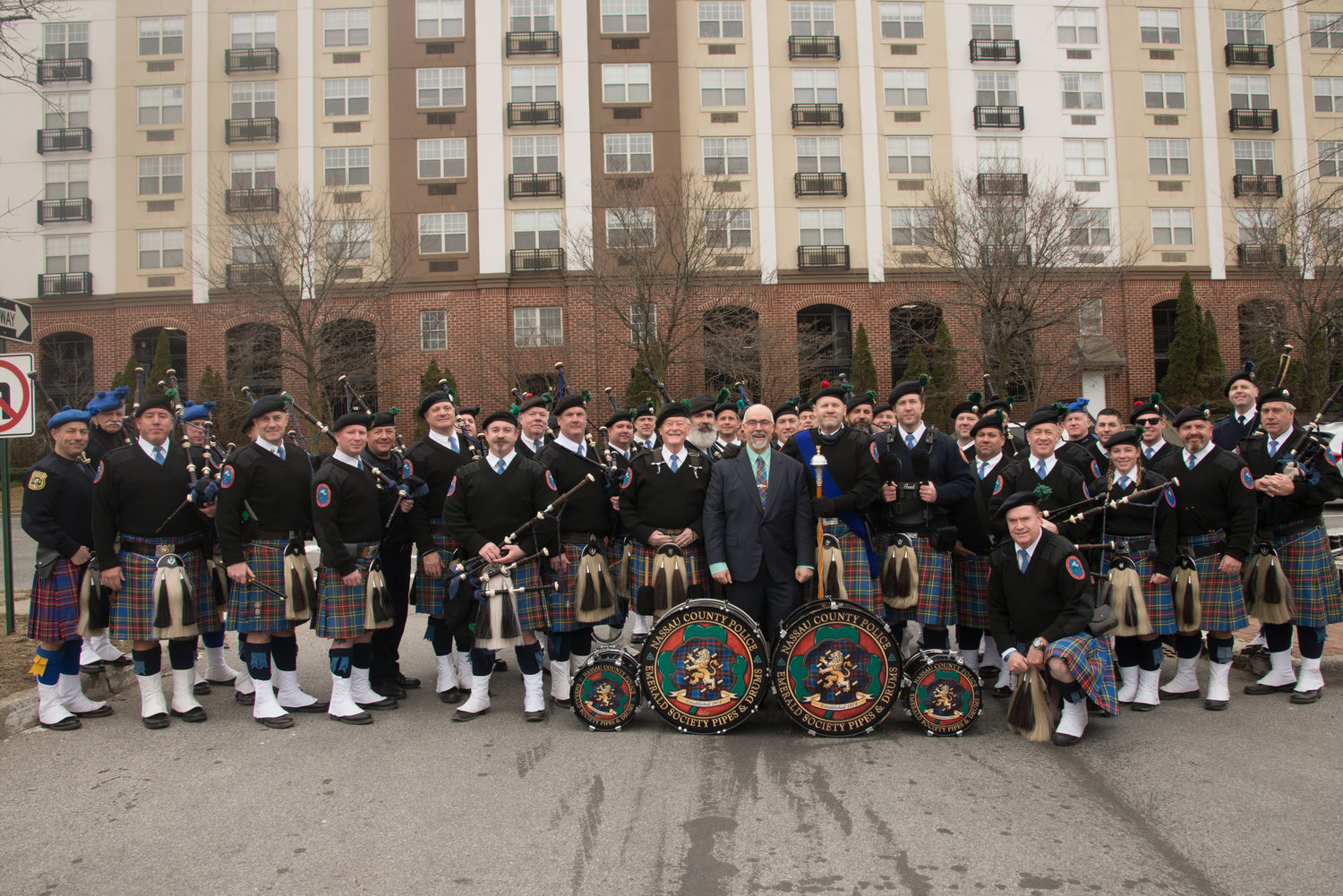 Those who attended last week's retirement ceremony for Detective Chris Albin got a taste of St. Patrick's Day, as three pipe bands played.