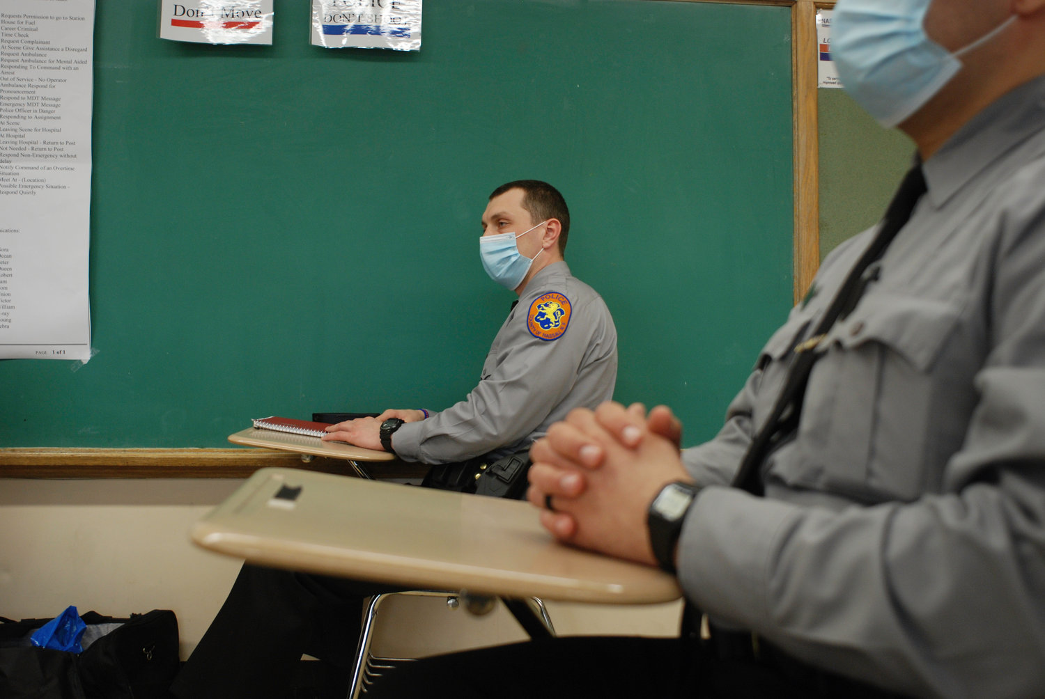 Mask wearing and social distancing are adhered to in every classroom.