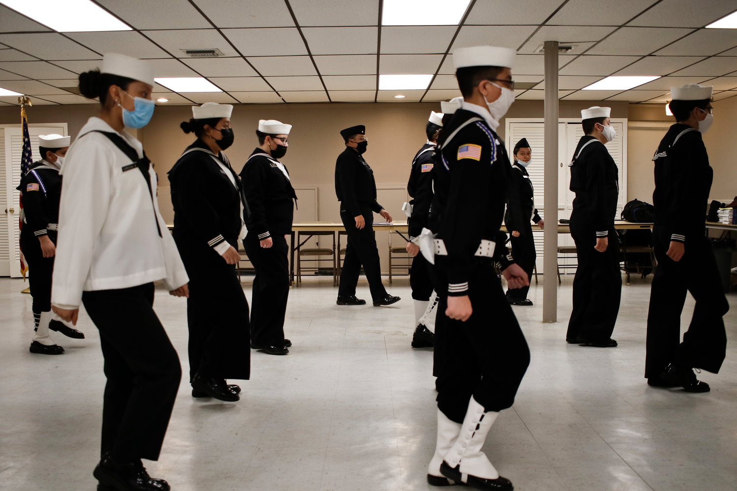 Members of the New York Naval Cadet Corps took drill instructions at the Valley Stream American Legion Hall on Saturday from Donny Ponce, lieutenant commander and founder of the Queens-based program, which is intended to teach children some basic discipline skills.