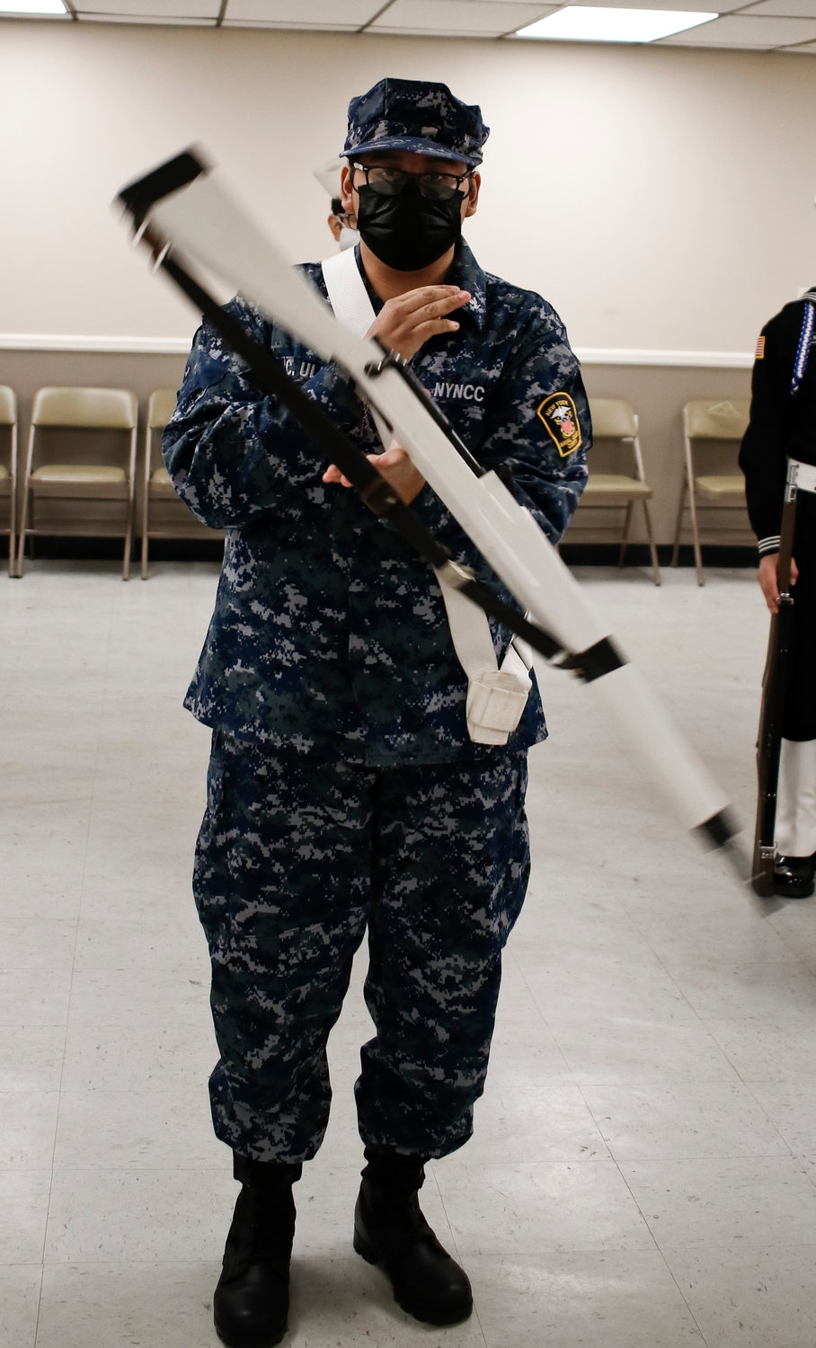 Cadet Christian Ulloa demonstrated his rifle handling skills.