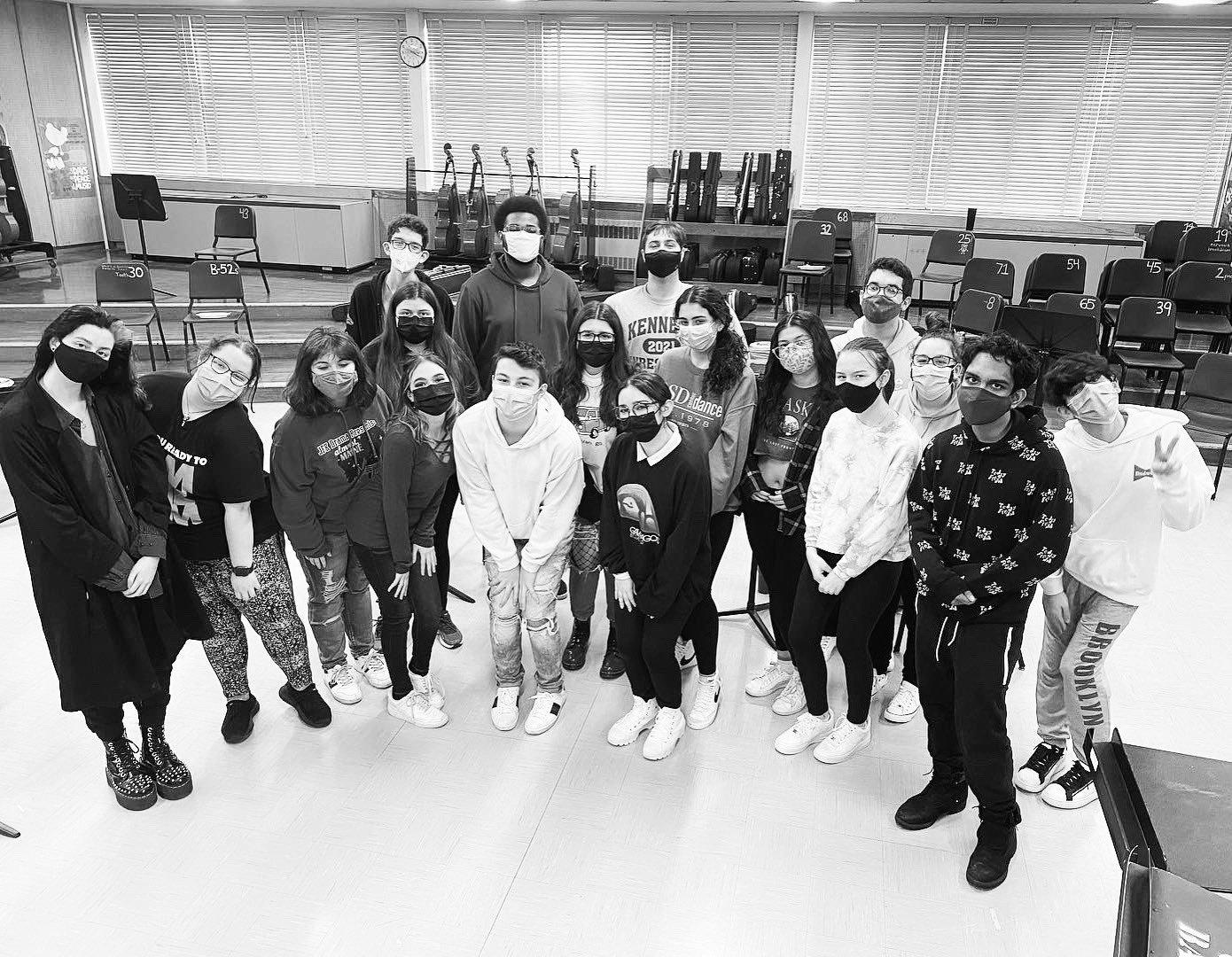 "The cast of ""Head Over Heels,"" the latest performance by the John F. Kennedy High School Drama Club, celebrated after completing their album."